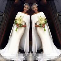 estilo formal simple vestido al por mayor-Sencillos vestidos de novia blancos elegantes del estilo del cabo sirena vestidos nupciales sudafricanos baratos vestidos de boda por encargo mujeres desgaste formal