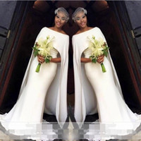 Wholesale bridal formal wear - Simple White Wedding Dresses Elegant Cape Style Mermaid Bridal Gowns South African Cheap Wedding Vestidos Custom Made Women Formal Wear
