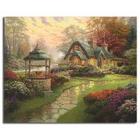 art cottages NZ - Thomas Kinkade Make A Wish Cottage Free Shipping,Hand-painted & HD Print Landscape Art oil painting On Canvas Home Decor Wall Art l188