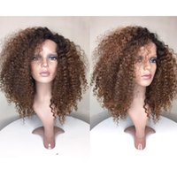 Wholesale virgin kinky curly ombre wig online - Glueless Ombre Lace Front Wig Brazilian Virgin Human Hair BT30 Fashion kinky curly Full Lace Human Hair Wigs with Baby Hair