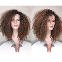 yapışkan olmayan peruk bakire kıvırcık toptan satış-Tutkalsız Ombre Dantel Ön Peruk Brezilyalı Virgin İnsan Saç # 1BT30 Moda kinky kıvırcık Tam Dantel İnsan Saç Peruk ile Bebek saç
