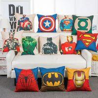 Wholesale superhero cases - Superhero Avengers cushion case Marvels pillow case superman batman Printed Cushion Cover linen Pillow Cover Cartoon Home Textiles