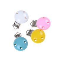 Wholesale wooden pacifier clips - Top Quality 1PC Wooden Baby Children Pacifier Holder Clip Infant Cute Round Nipple Clasps For Baby Product