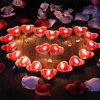 rote kerzen herzform großhandel-50 stücke / 3 * 1,1 * 1 cm Soja Kerzen Herzförmige Rote Lila Blau Soja Wachs Duftkerzen Gewachste Tabbed Tee Kerzen Hochzeit Kerze Dochte