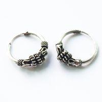 серебряные серьги из тибетского серебра оптовых-whole saleISINYEE Vintage Small Hoop Earrings For Women Man Men Punk Round Hip Hop Earring Antique Brincos Tibetan Silver  Jewelry