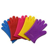guantes de horno dedos al por mayor-Guantes gruesos de silicona de 9 colores para barbacoa, antideslizantes, horno de microondas, horno, olla, hornear, cocina, herramienta de cocina, cinco dedos, guantes