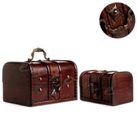 klasik ahşap kasa toptan satış-2 adet Chic Ahşap Korsan Mücevher Saklama Kutusu Kasa Tutucu Vintage Hazine Sandığı