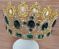 coroas redondas para noivas venda por atacado-Coroa barroca européia e americana do headwear da noiva, headwear redondo do casamento da coroa da princesa