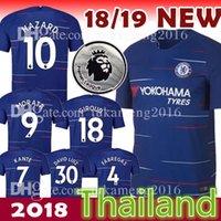 Wholesale premier men - GOLOVIN #17 18 19 Soccer Jersey Blue 10 HAZARD 9 MORATA Football shirt 2018 KANTE BARKLEY WILLIAN MARCOS A Premier League gold patches