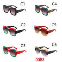 Wholesale Mirror Crystals - HOT 0083 fashion women sunglasses 5 colors frame shiny crystal design square big frame hot lady design UV400 lens Quality A+++ MOQ=10