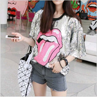 Wholesale free size girl clothes resale online - Women Stage Performance Tops Big Lip Sequined Sexy Girl Hip Hop clothing Female Costumes Free size Loose jazz Dance Shirts