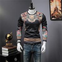 Wholesale Funny Tshirts Men - 2018 men luxury design thicken warm tshirts fashion men funny brand cotton tops and t-shirts t136