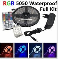tira led de promoção venda por atacado-Fita de LED Light 5050 RGB Conjunto de Fita IP65 À Prova D 'Água 300LED 5 m com 44 Key Controle Remoto 12 V Adaptador De Energia Mudança de Cor 5 M