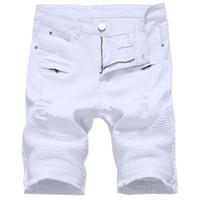 bermuda jeans masculina achat en gros de-Summer Mens Short en Jean Slim Décontracté Genou Longueur Short Hole Jeans Short pour Hommes Straight Bermuda Masculina Blanc Noir Rouge