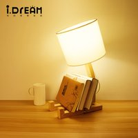 Wholesale Robot Table Lamp - IDERAN Table lamp and wooden lights lanterns natural Robot art personality solid wood coffee restaurant fashion modern bedroom