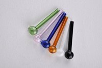 Wholesale great accessories - Wholesale Cute Smoking Accessories Colorful Great Pyrex Glass Burner Pipe Cute Transparent Clear Oil Burner Glass Bong Pipe Oil Nail Pipe