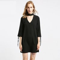 schwarze ausgeschnittene ärmel kleiden großhandel-frauen sexy ausschnitt v-ausschnitt dress verband sleeve mini dresses solid black damen herbst casual streetwear
