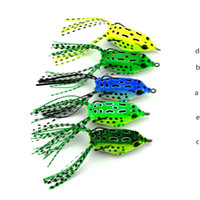 Wholesale Frog Bodies - Hollow Body Soft Rubber Frog Shape Blackfish Fishing bait 5.5cm 8g 3D eyes 5color simulation Bullfrog Laser water surface Lure