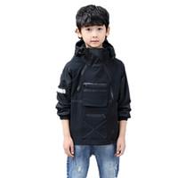 abrigos de invierno únicos al por mayor-Niños chaqueta con cremallera doble únicos diseño negro otoño chaquetas de invierno para niños con capucha cazadora niños Coats