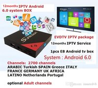 Wholesale android box tv 2k 4k online - IPTV Service E8 Android tv box S905X with evdtv channels Latino Turkish French IPTV Free IPTV h k k Video