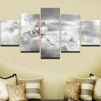 Wholesale 5 Panel Animal Wolf Canvas Painting Home Decor For Living Room Canvas Art Printed On Canvas Wall Picture
