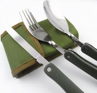 yemek takımı ayarı toptan satış-3 Adet / takım Taşınabilir Açık Sofra Takımları Yemek Kamp Tencere Katlanır Bıçak Kaşık Çatal Gereçleri Piknik Yürüyüşü Seyahat Çatal 5623