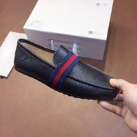 Wholesale men dress shoes online - Loafers Designer Italian Luxury Designer leather dress shoes Top Leather wedding party men shoes suede fashion loafers heel shoes size