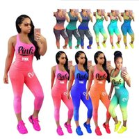 Wholesale gradient color leggings - S-3XL Gradient Color PINK Letter Tracksuit Outfits Tank Pants sports Tights Leggings Two Piece Summer Sportswear Casual GYM Jogger Suit girl