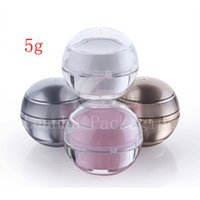 Wholesale 5g Acrylic Jar Wholesale - 30pc lot 0.17oz empty sample Cosmetic Cream Jar container ,Cosmetics Packaging,5g luxury Acrylic Ball shape cream Jar container,