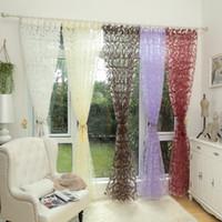 paneles transparentes blancos al por mayor-Diseño sin fin tejido cortina blanca panel de tul cortina de hilo transparente para dormitorio ventana tratamientos cortinas para sala de estar
