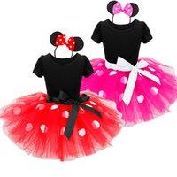 ingrosso spettacolo di compleanno-2018 New Kids Ballet Show Dress Principessa Party Costume neonato Abbigliamento a pois Baby vestiti Compleanno ragazze tutu Abito con fascia