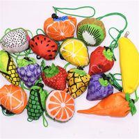 bolsas ecológicas lindas al por mayor-Frutas Eco Friendly Bolsos de compras utilizables Mujer Bolso Niñas Lindo Regalo creativo Envoltura Plegable Bolsa de Almacenamiento de Fibra de Poliéster Portátil 2 6xs bb
