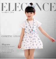 Wholesale cute korean fashion clothes - Summer new children's clothing Korean girl dress round hole cute fashion children's skirt fashion cute dress for girls V 001