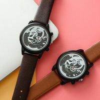 relógios de pulso mais legais venda por atacado-Legal Do Punk Do Crânio Do Relógio Dos Homens 3d Esqueleto Criativo de Luxo de Ouro de Quartzo Relógios De Pulso De Couro Casual Masculino Relógio Relogio masculino