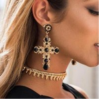 Wholesale Large Crystal Cross Wholesale - Vintage Black Red Blue Crystal Hollow Out Cross Drop Earrings For Women Bohemian Large Long Dangle Earrings Jewelry Gifts