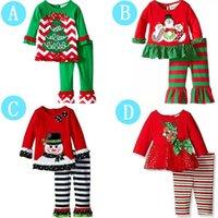 bebek kış giyim satışı toptan satış-Noel Bebek Kız Pijama Noel Baba Ren Geyiği Xmas Ağacı Baskılı Kış Sonbahar Giyim Uzun Kollu Pijama Sıcak Satış 27xy hh