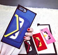 Wholesale Devil Cards - Luxury brand small devil card bag phone case for iphone X 7 6 8 TPU soft side purse case for 6plus 7plus 8plus