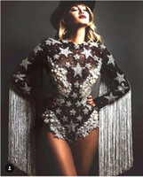 bailarina leotardo borla al por mayor-Grey Tassel Cristales Estrellas Body Mujeres Etapa Danza flecos Leotardo Discoteca Fiesta Cantante femenina Disfraz Celebrar Traje