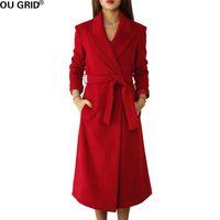 ingrosso high collar wool belt-Cappotto autunno-inverno donna 2017 Slim collo alto rovesciato in lana di alta qualità Cappotto caldo con cintura