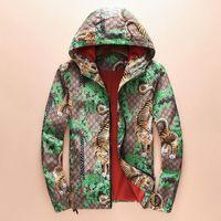 Wholesale Green Flower Street - Winter autumn flower tiger print jackets men new luxury brand windbreaker men high street men sport jacket coats free shipping