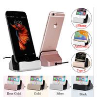 station base großhandel-Ladestation Dock Station für iPhone X 8 7 6 USB-Kabel Sync Cradle Ladegerät Basis für Android Typ C Samsung Ständer Halter