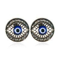 kızlar için mavi hediyeler toptan satış-Moda Mavi Gözler Tasarım Büyüleyici Küpe ile Kübik Zirkonya Saplama yuvarlak Küpe Hediye Kız Parti Takı Hediye için toptan