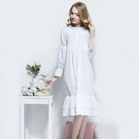Vintage Princess Sexy Sleepwear Women Cotton Medieval Nightgown White Female  Queen Dress Night Dress Indoor Clothing Home adc8358de