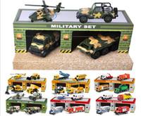 araba ambulansı toptan satış-2018 Çocuk Oyuncak Taksi Modeli Araba Mühendisliği Askeri Yangın Polis Ambulans Serisi Sahne Seti Modeli Toptan