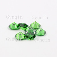 Wholesale loose cz - 100pcs lot free shipping 3.5mm-5.75mm AAA cubic zirconia green round loose cz stones
