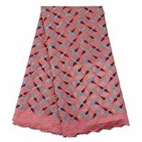 diseño de cordones de boda africanos al por mayor-Nuevo diseño de algodón africano grande suizo Voile Lace con diamantes de imitación para el vestido de boda de Nigeria GYCL0027