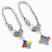 Wholesale colorful bracelets for men - Autism Awareness Puzzle Jigsaw Colorful Fashion Square Enamel Charm Bracelet Friendship Jewelry for kids boys girls unisex women men