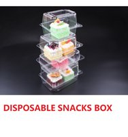 temiz küçük plastik ambalaj toptan satış-Tek kullanımlık Aperatifler ambalaj kutusu Plastik Ince Pişirme Tatlı Küçük kek malzemeleri yemeyi deneyin Pasta Gıda sınıfı Temizle