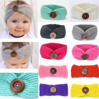 Wholesale thanksgiving beanie babies for sale - Kids Buckle Knitted Crochet Headband Baby Winter Sports Button Headwrap Hairband Turban Head Band Ear Warmer Beanie Cap AAA961