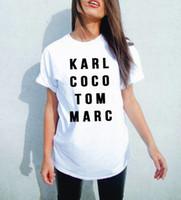 toms black al por mayor-Verano Hombres Mujeres Negro karl coco tom marc Camiseta americana Camiseta de mujer Tops de moda Street Hippie Punk Hombres Camisetas para mujer